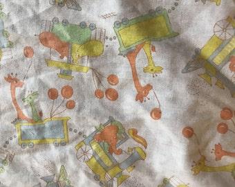 Vintage hippo animal print crib sheet fabric