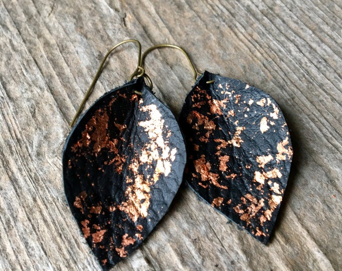 Black Leather Leaf and Copper Drop Earrings