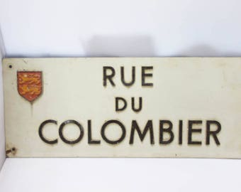 Vintage aluminium street sign _ French street plate _ Normandy street sign