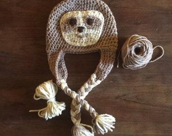 Sloth Hat, Crochet, Photo Prop, Newborn/Baby/Toddler, Animal Hat