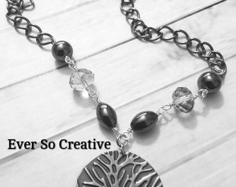 Vintaj Embossed Tree Hematite & Crystal Necklace