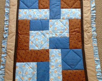 Teddy bear quilt, Baby crib quilt, patch work quilt, ruffled edge, baby blue blanket,brown and blue quilt, ready to ship,