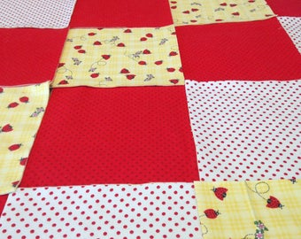 """lady bug Rag quilt kit 75  pre cut squares, 3 layers of flannel 8"""" each, pre cut, red yellow polka dot finished is approx 35x35"""