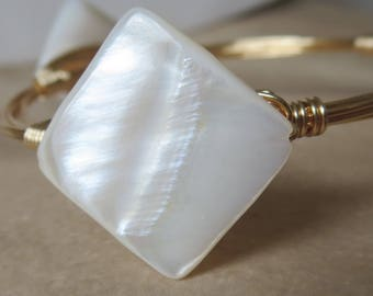 "White Mother of Pearl Diamond Shaped Bangle Bracelet ""Bourbon and Bowties"" Inspired"