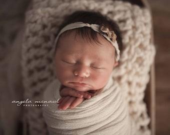 Dainty Roses Earth tones Newborn headband tie back photography prop