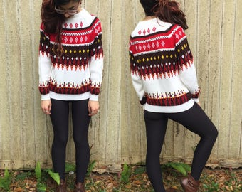 Vintage 1970's Thick Knit Sweater XS S Festive