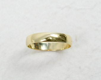 Gold wedding ring. 4mm rounded ring, 14k yellow gold wedding band-  his and hers wedding ring. Unisex wedding ring. (gr-9294-1447).