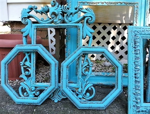 Beautiful shabby chic powder turquoise picture frame for Bungalow style picture frames