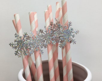 Snowflake Straws 10CT | Winter Onederland Birthday |Glitter Snowflake Party |Snowflake 1st Happy Birthday Decor |Pink and Silver Party Decor