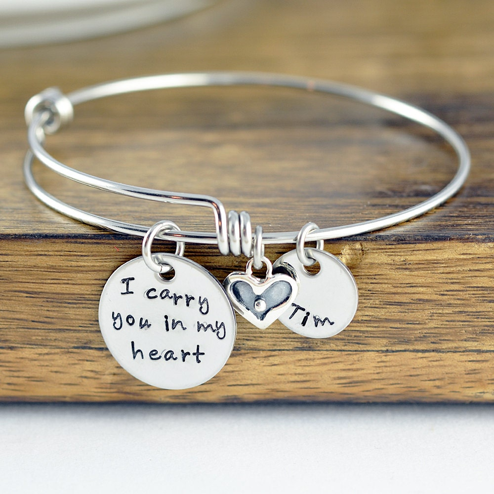 personalized bangle charm bracelet memorial by luckyhorngifts
