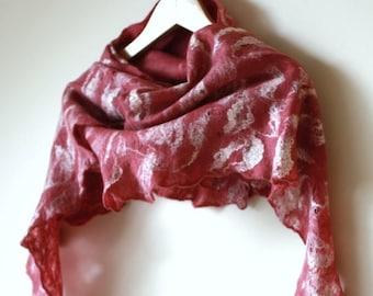 Felted scarf  wool silk - cobweb felted wool silk scarf - Cranberry  scarf