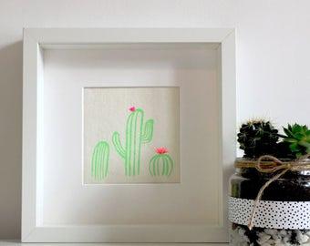 Cactus Screen Print, Succulent, Cacti Poster, Prickly Pear, Desert, Americana, Neon, Cactus Flower, Art Print, Home Decor, Housewarming
