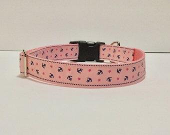 Pink Anchors Custom Dog Collar