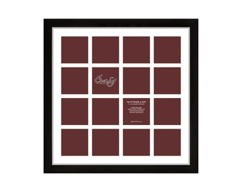 Craig Frames, 18x18 Inch Black Picture Frame, Single White Collage Mat with 16 - 4x4 - Inch Openings (500181801C49A)