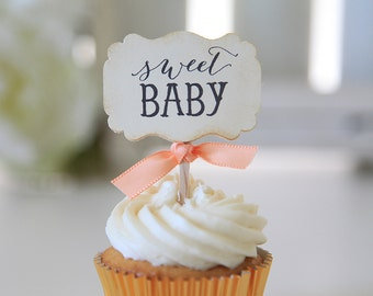 Baby Shower / Cupcake Toppers / Sweet Baby / Candy Table / Decor / Gender Neutral / Vintage
