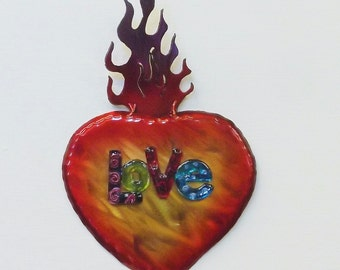 Sacred Heart, Love decor,Religious Art, Valentines Gift, Red flames, Burning Love, Newlywed gift, wedding gift, unique art,Cardiologist gift