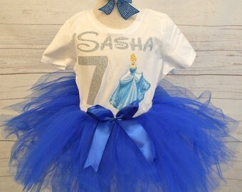 Cinderella birthday outfit, FREE SHIPPING,Cinderella,disney princess outfit, birthday girl,birthday outfit, disney birthday set, blue outfit