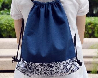 Drawstring backpack/ Cotton backpack/ Drawstring bag/ handmade backpack/ Gym bag/ Swim bag ~ Damask (B75)