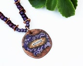 Strong Mixed Media Necklace, Mixed Media Jewelry, Purple Necklace, Short Necklace, Beaded Jewelry, Inspirational, Repurposed Recycled
