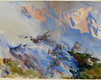John Singer Sargent Watercolor Reproductions.  Mountain Fire, 1906-7 - Fine Art Print.