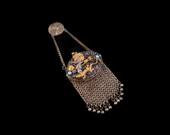 Antique French Silver Chatelaine Chain Mail Purse, 'Summer', Rare Jewellery, Gold Lizard, Turquoise, Engagement, Valentine, Gift for Her