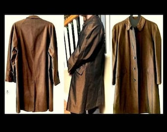 Vintage 1950's Sharkskin Coat Over Coat Shark Skin Trenchcoat Men's Medium