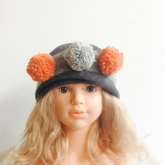 WARM 1-2 Years Headband Kids Cashmere With Pom Poms in Upcycled Wool Unisex