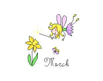 March Fairy Cross Stitch Pattern