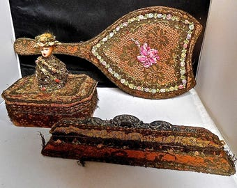 3 Antique French Ribbonwork Vanity Items Comb & Holder Trinket Box With Doll And Ribbonwork Adorned Hand Mirror