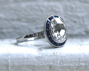 RESERVED - Vintage Platinum Rose Cut Diamond and Sapphire Engagement Ring - 2.31ct.