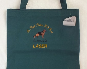 Embroidered Green Canvas Tote Bag