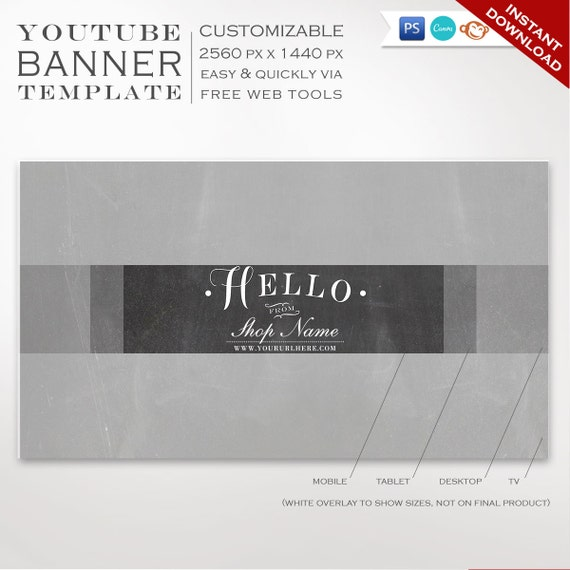 Youtube Banner Template Chalkboard Youtube Channel Art