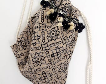 Burlap drawstring rucksack, geometric print Indian burlap fabric, with nautical cord handles, boho bag. Beige and navy blue.  Ready to ship