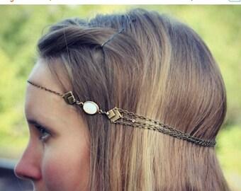 SUMMER SALE geometric white opal chain head piece, chain headband, triangle headband, metal headband, unique headband