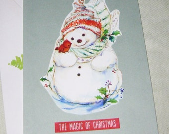 Snowman Christmas or Yule Handmade Card - Handmade Cards