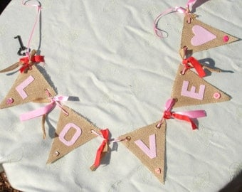Handmade LOVE Burlap and Ribbon Banner with Key to my Heart