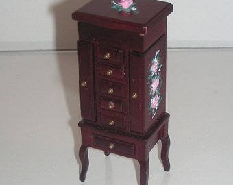 Heidi Ott Jewelry Box with Legs Hand-painted Pink Roses 1:12 Dollhouse Miniature Victorian