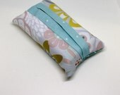 Travel size- Fabric tissue holder- floral and blue