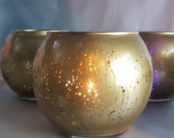 5 per // Round Gold Mercury Glass Vase  or Votive Candle Holder for Weddings and Parties, Flower // Mercury Antique Style 5 p/order
