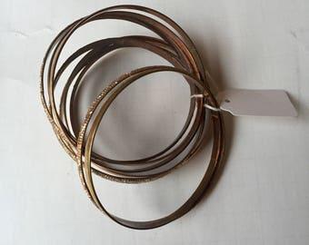 Set of Eight Copper Bangle Stacking Bracelets, Boho Chic, 1980's