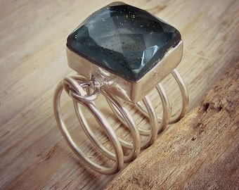Silver Ring - Sun Sitara - Fashion Jewelry - Wire Wrapped Ring - Above The Knuckle Ring - Fashion Ring