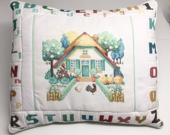 Finished / Completed Cross Stitch - Farmyard Alphabet pillow crossstitch counted cross stitch