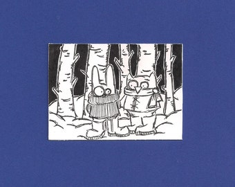 ACEO, Winter Picnic,  Original Drawing, Art Trading Card, ATC, Trading Card, Kid Friendly