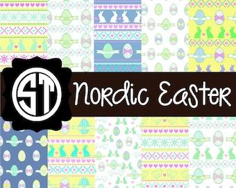 Nordic Easter Patterns Vinyl (Indoor, Outdoor,  Glitter vinyl , HTV iron on, Glitter HTV) Lamination available Mask not included