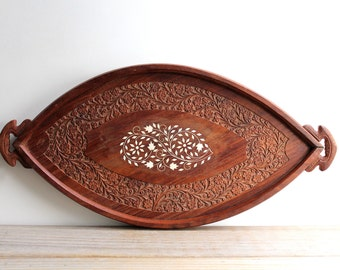 Boho style vintage wood tray / carved decorative wooden tray / gypsy tribal home decor / brown wood white inlay / global style table setting