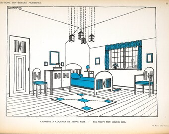 1922 Print French ART DECO Interior Georges CHAMPION Vintage Interior Design Lithograph Plate Girl's Bedroom