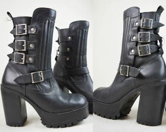 90s Goth Biker Buckled Black Leather Platform Calf High Boots UK 5.5 / US 8 / EU 38.5