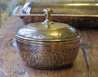 Solid brass Indian lidded pot