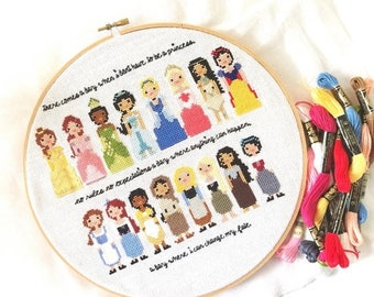 PATTERNPALOOZA STOCK UP Disney Princess Pixel People Cross Stitch Pattern - Girls Cross Stitch - Easy Cross Stitch Pdf