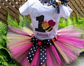 1st Birthday Girl Outfit - Bumble Bee Birthday Outfit -  Bumble Bee Tutu - My 1st BeeDay Outfit - Hot Pink, Black and Yellow Tutu